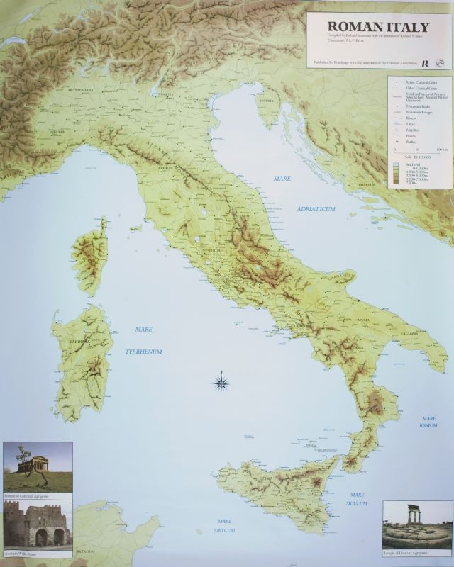 The American Classical League Map Of Roman Italy